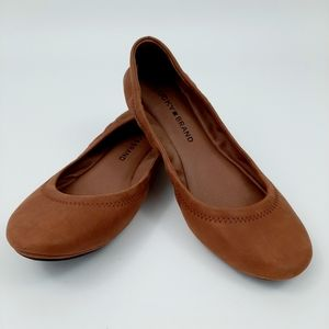 LUCKY BRAND Emmie Bourbon Leather Flats Size 6